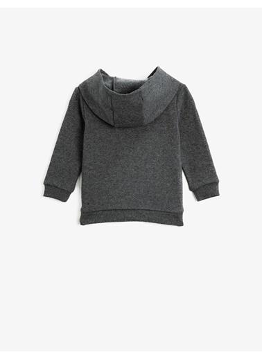 Koton Islemeli Kapüsonlu Uzun Kollu Sweatshirt Gri